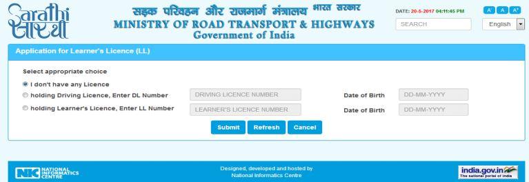 Learner's License - Application on Parivahan Portal