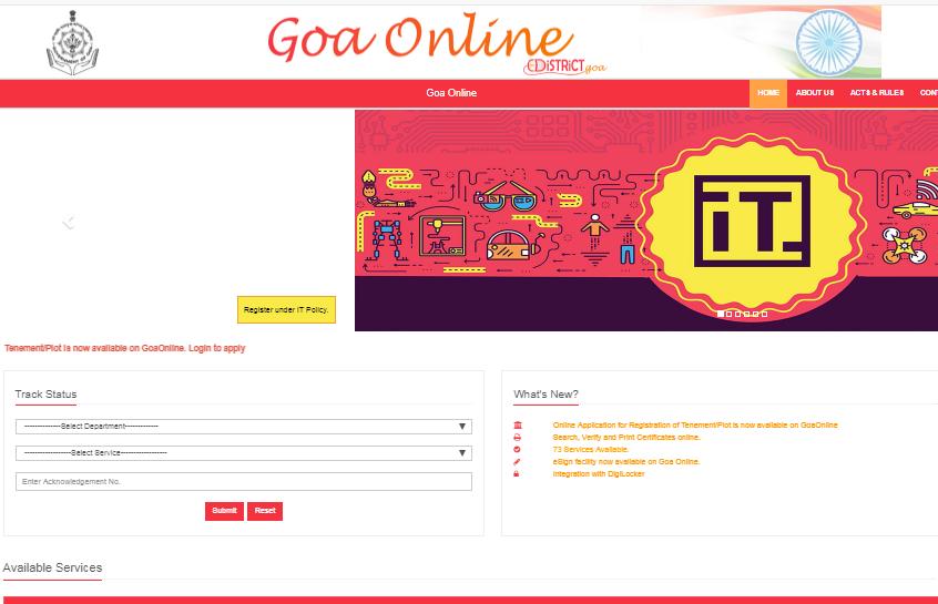 Step 1 - Goa Factory Registration