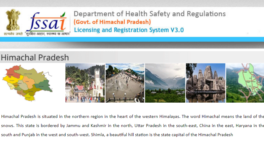 Step 1 - Himachal Pradesh FSSAI License or Registration