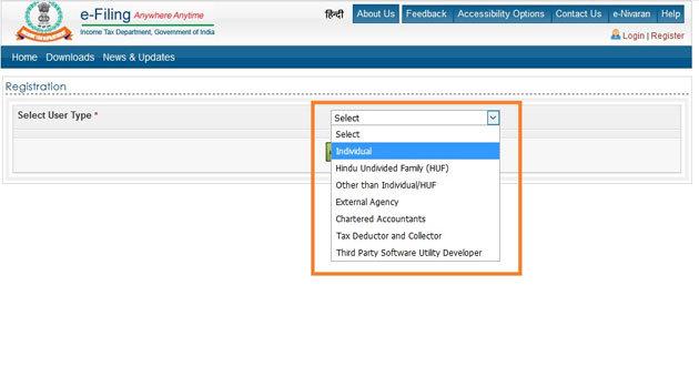 Step 4- Income Tax e-Filing Registration