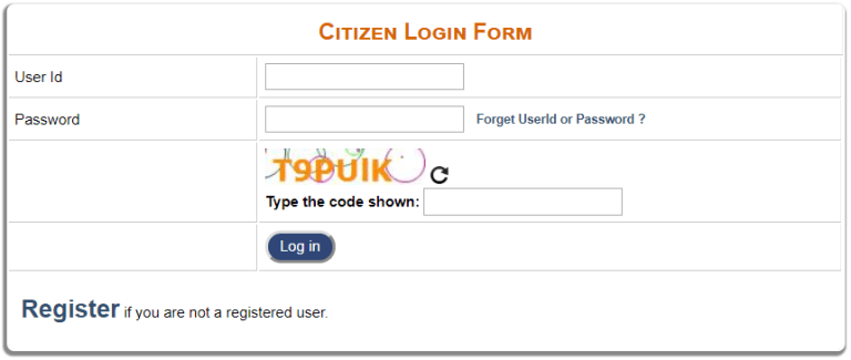 Citizens Login Form