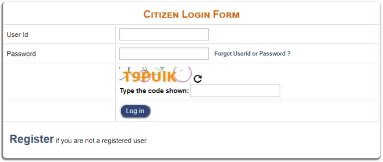 Citizens Login Form