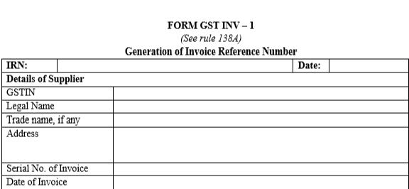 Form GST INV 1 - Part A
