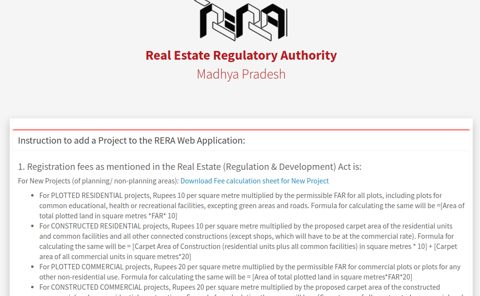 Step 4 - Madhya Pradesh RERA Registration for Projects
