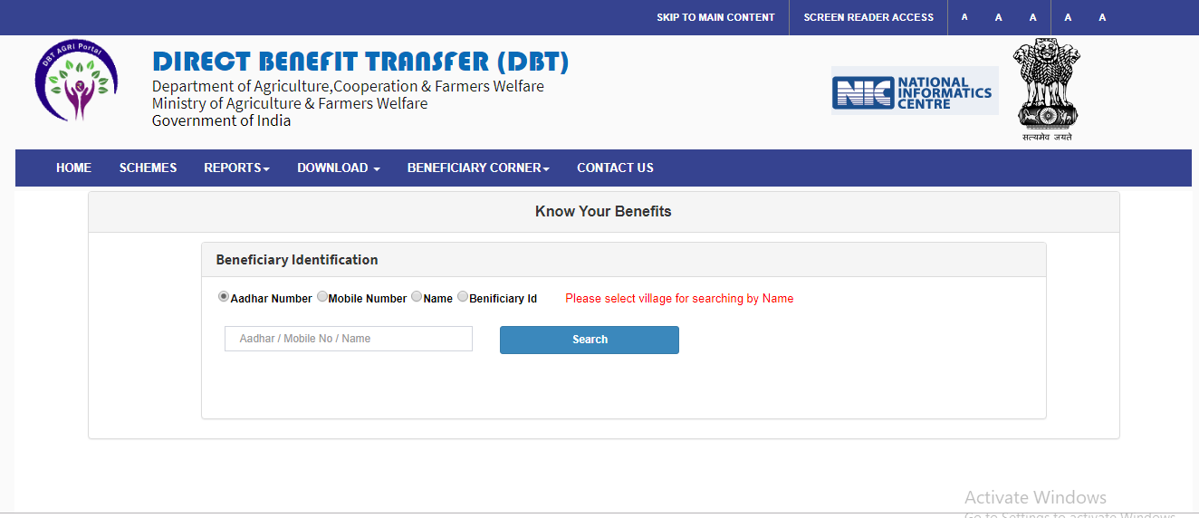 Direct Benefit Transfer-Beneficiary Identification
