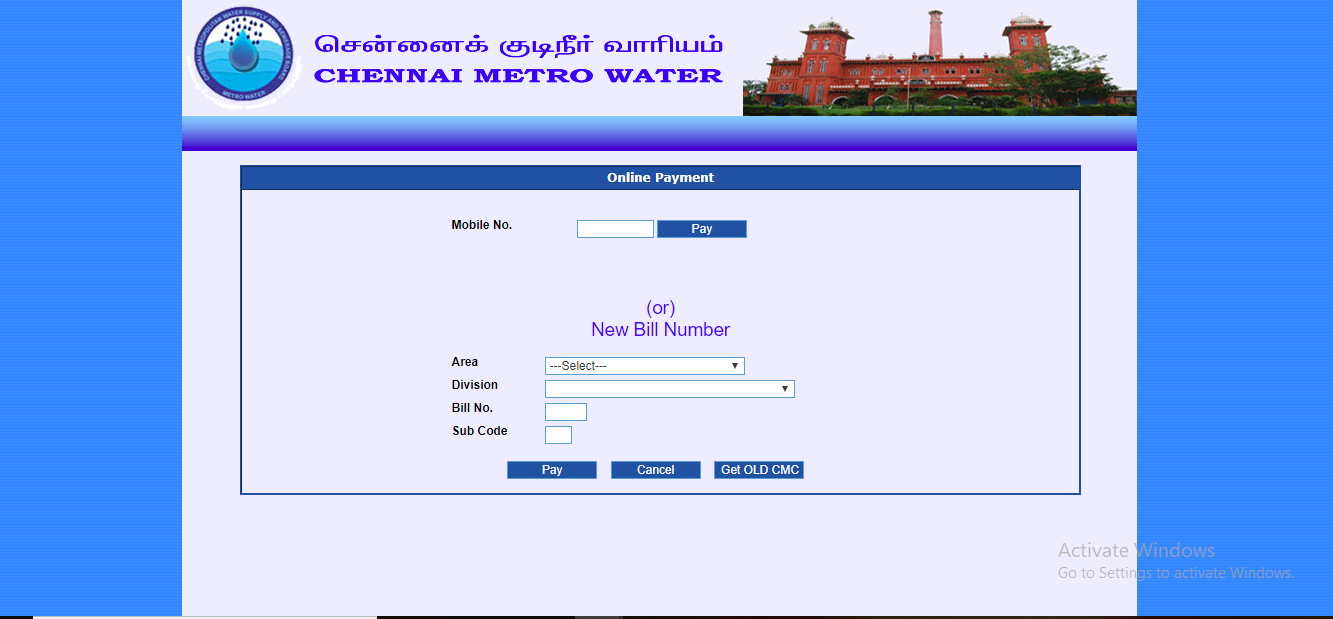 Chennai Water Tax - Online Payment Procedure - IndiaFilings