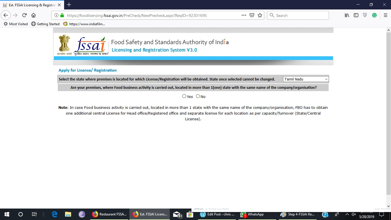 Step 5-FSSAI Registration for Restaurants