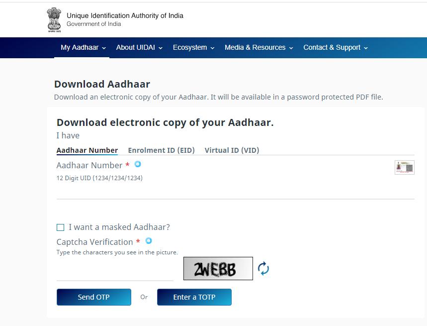 e-Aadhar OTP