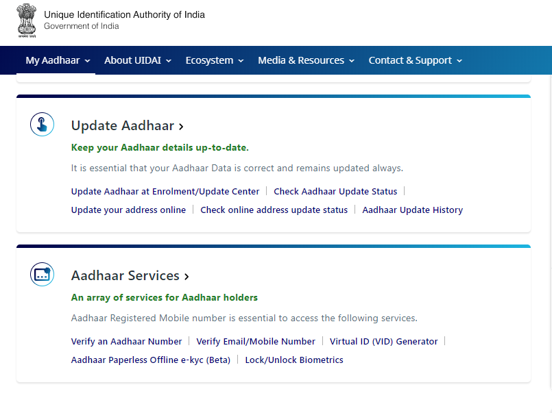 e-Aadhar Update status