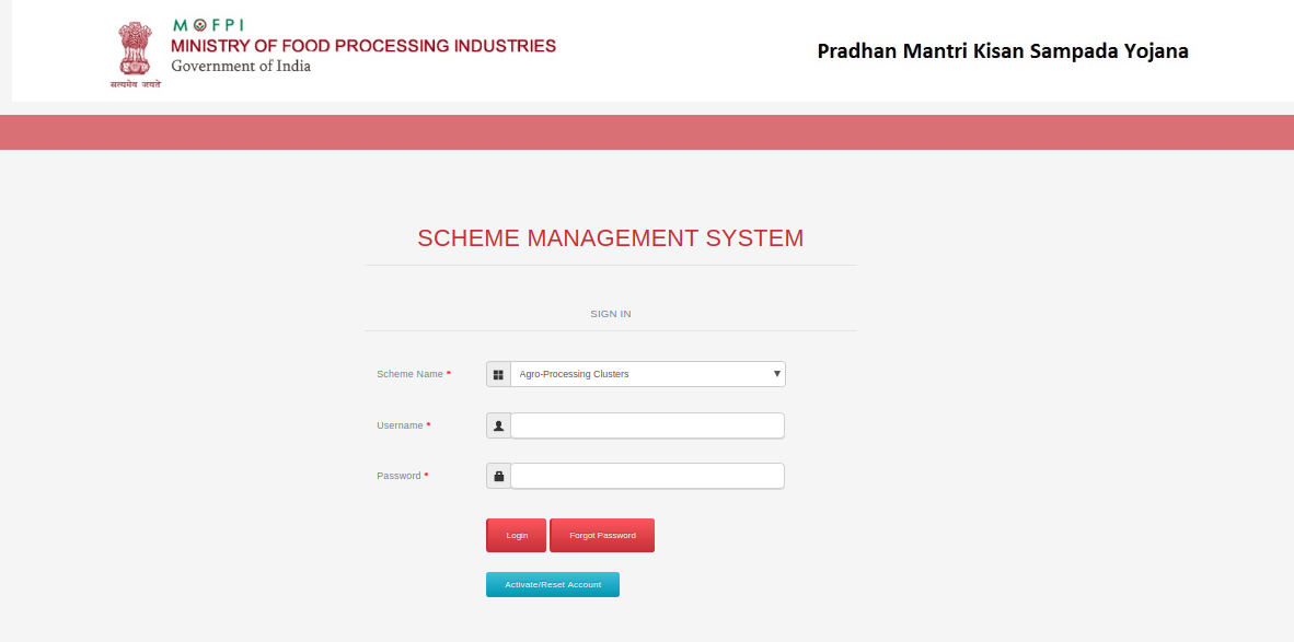 Agro Processing Cluster - Login Page