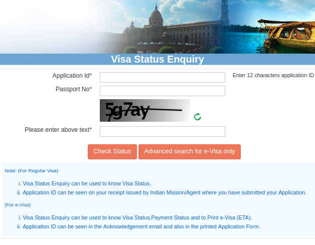 Track Status of Application: e-Visa for India