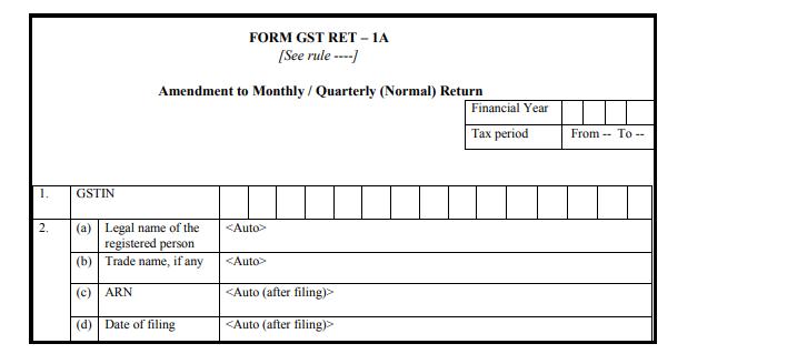 Form GST RET-1 - Form GST RET-1A