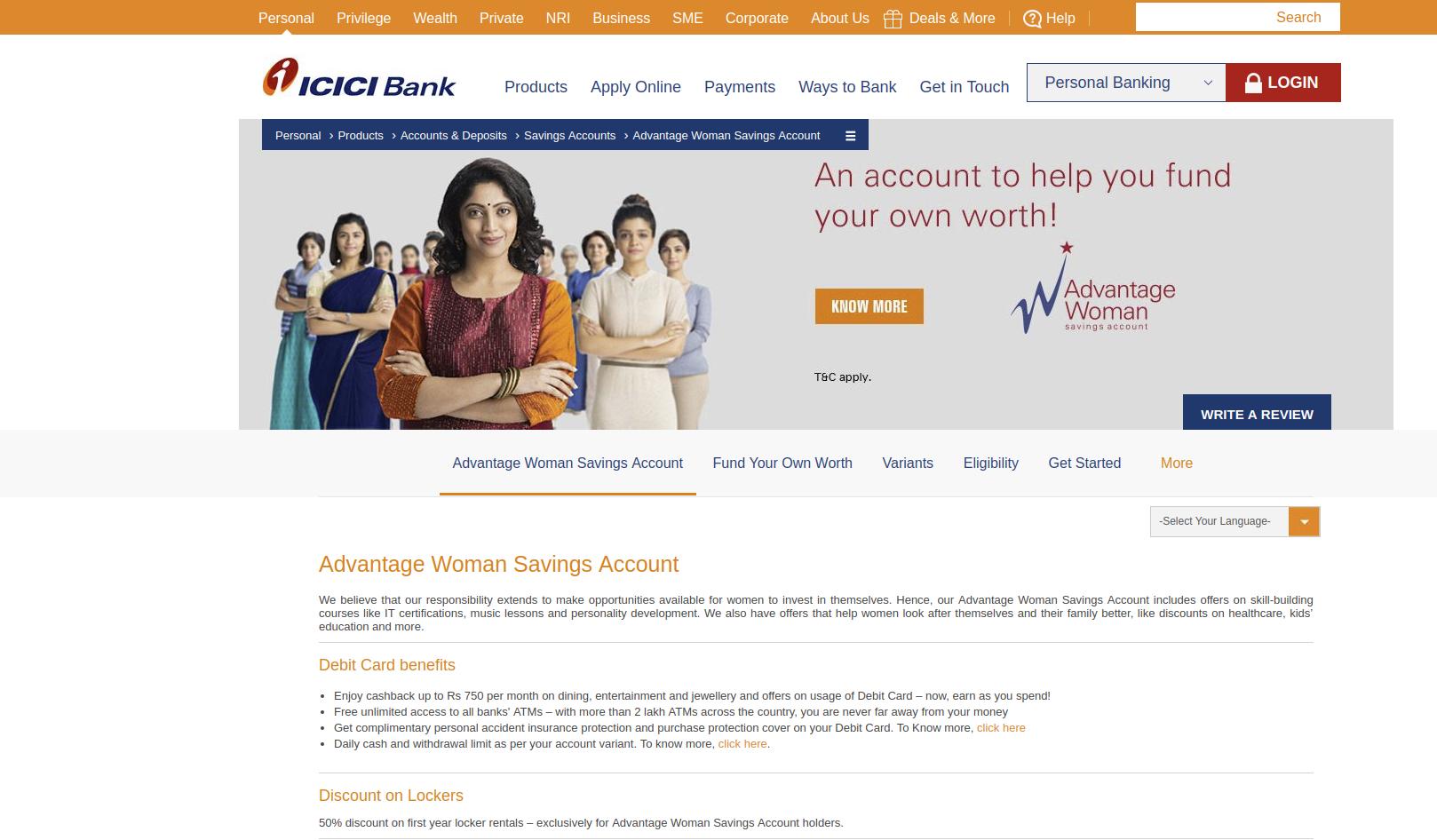 ICICI Home Page