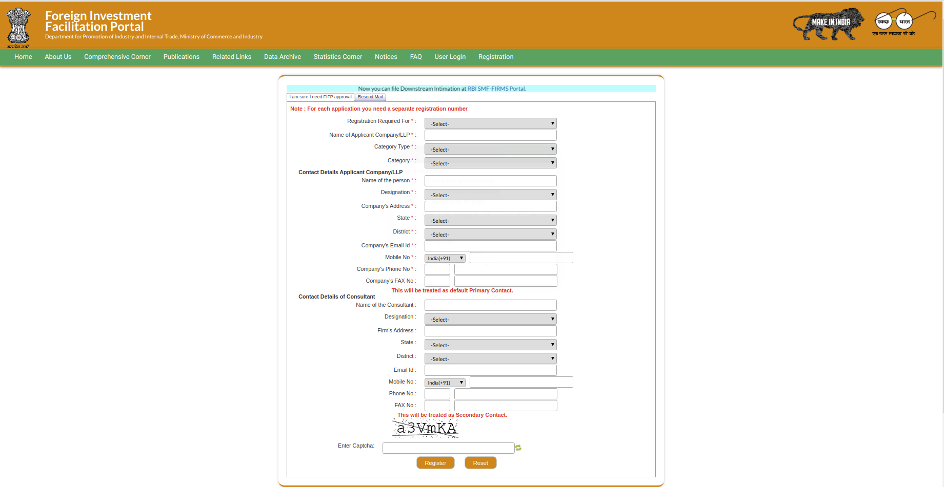 FIFP registration page
