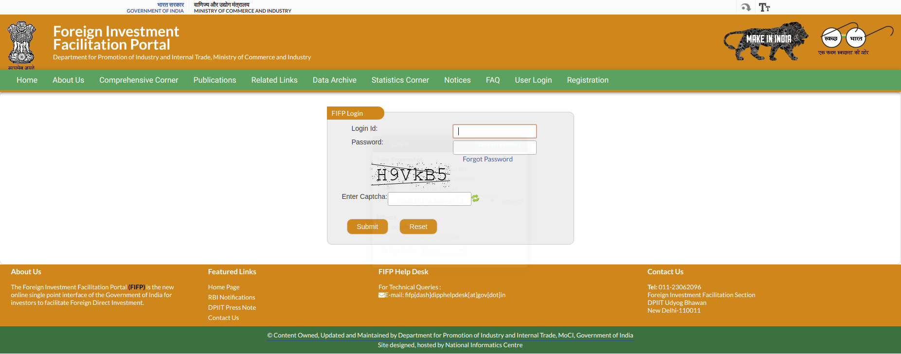 FIFP registered login page