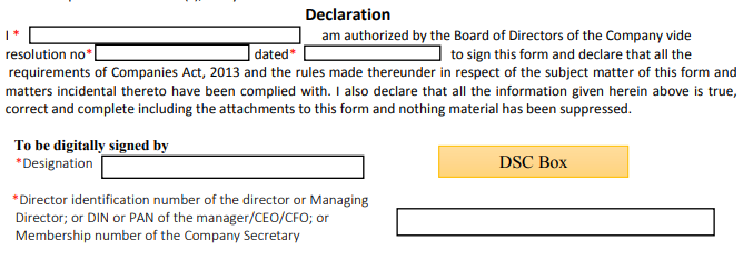 Declaration of authorisation