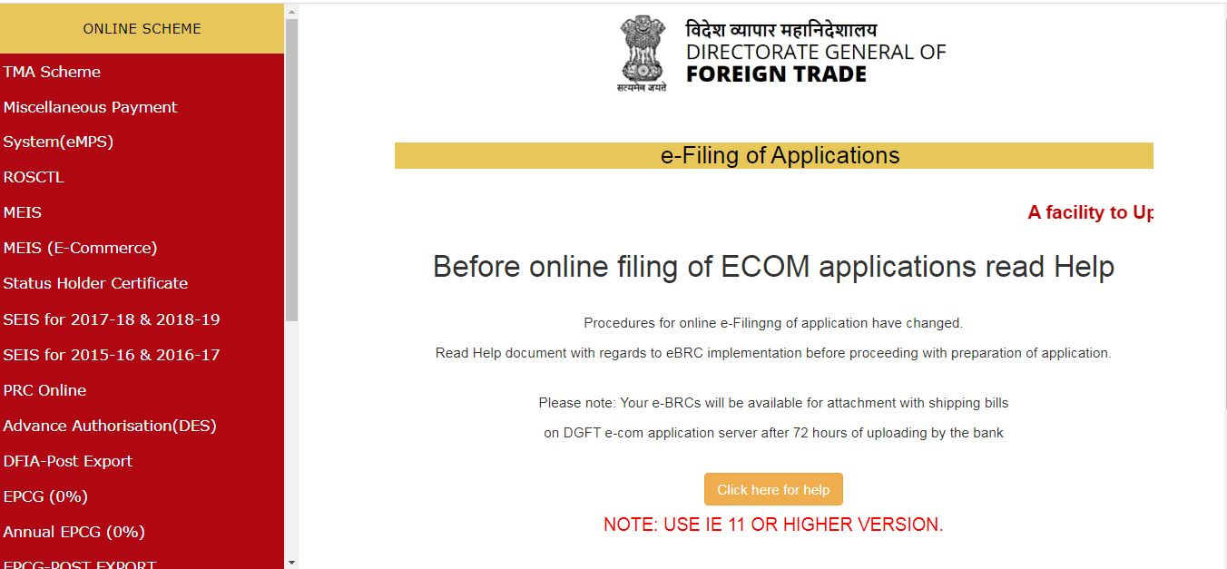 Export-of-SCOMET-Items - DGFT-ECOM-Application-Page