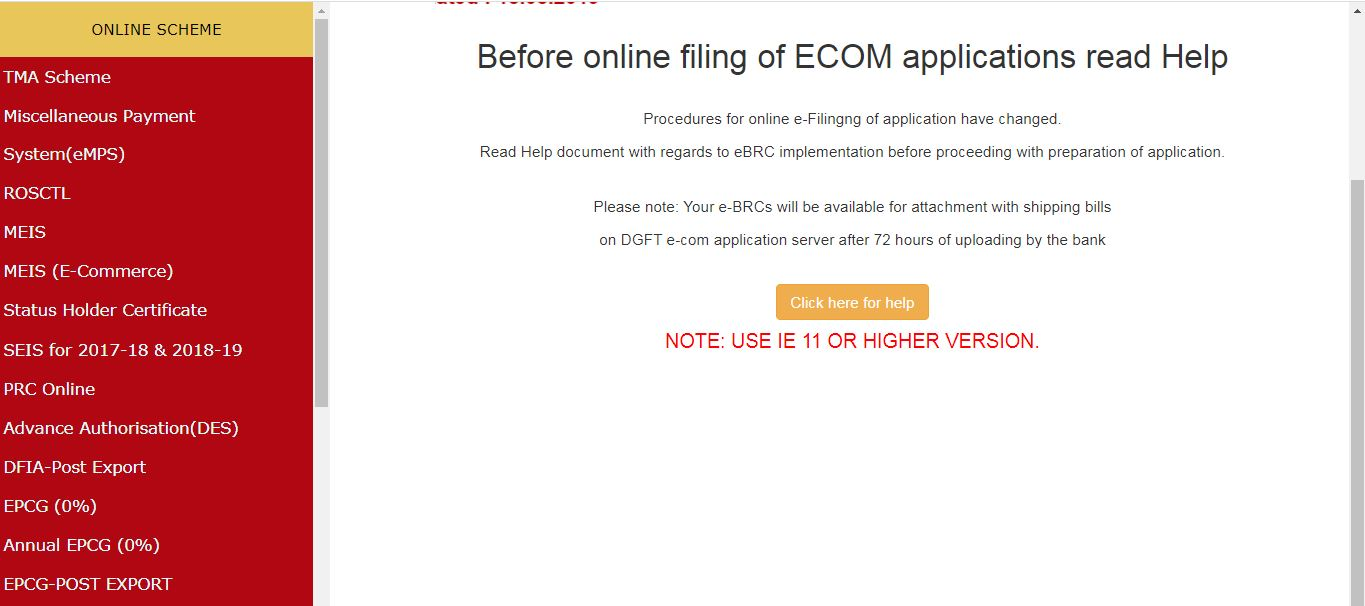 Application for Free Sale and Commerce Certificate - ECOM