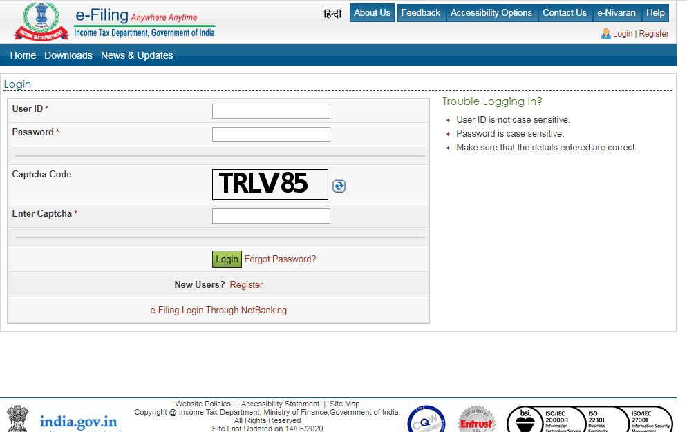 e-Filing of DTVSV Form - Login Page