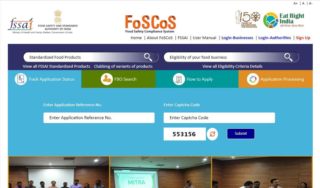 Food Safety and Compliance System (FoSCoS) - Home Page