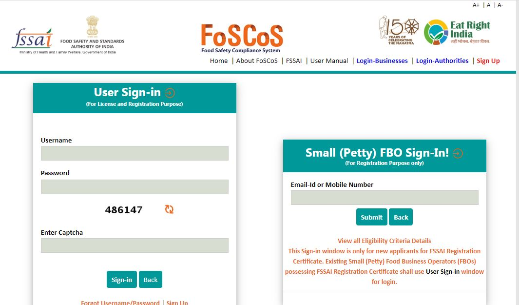 Food Safety and Compliance System (FoSCoS) - User Login Page