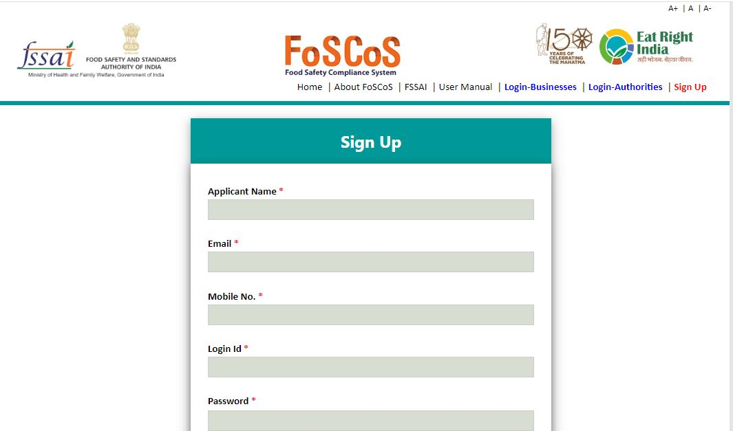 Food Safety and Compliance System (FoSCoS) - User Registration