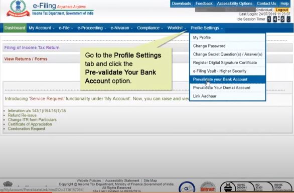 Pre-validation of Bank Account for Income Tax Refund - Application Page