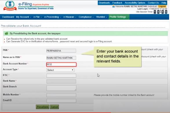 Pre-validation of Bank Account for Income Tax Refund - Application Page3