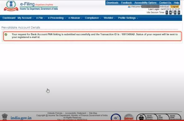 Pre-validation of Bank Account for Income Tax Refund - Application Page4