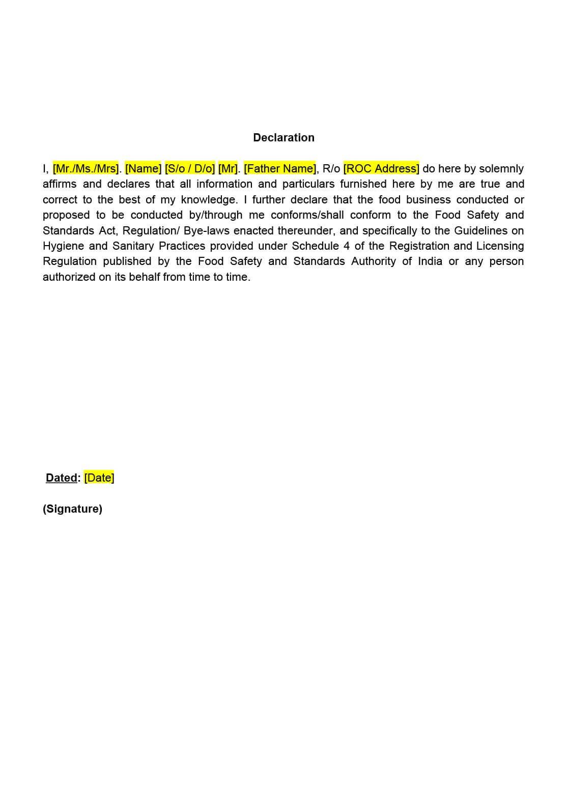 FSSAI-Declaration-Format