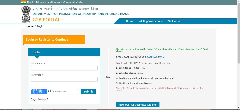 Industrial License (IL) - DPIIT User Login