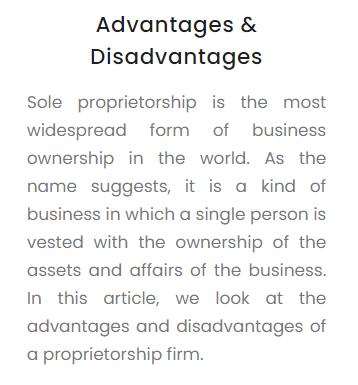 Advantages and Disadvantages of Proprietorship