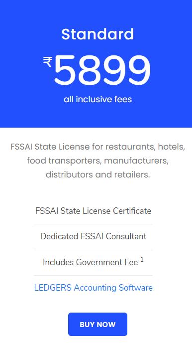 FSSAI Registration Standard Pricing Plan