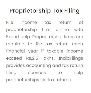 Proprietorship Tax Filing
