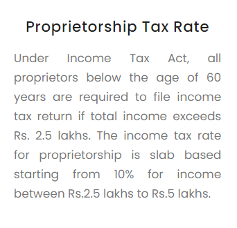 Proprietorship Tax Rate