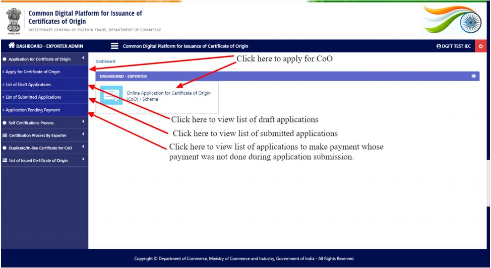 Electronic filing and Issuance of Preferential Certificate of Origin (CoO) - CoO Application