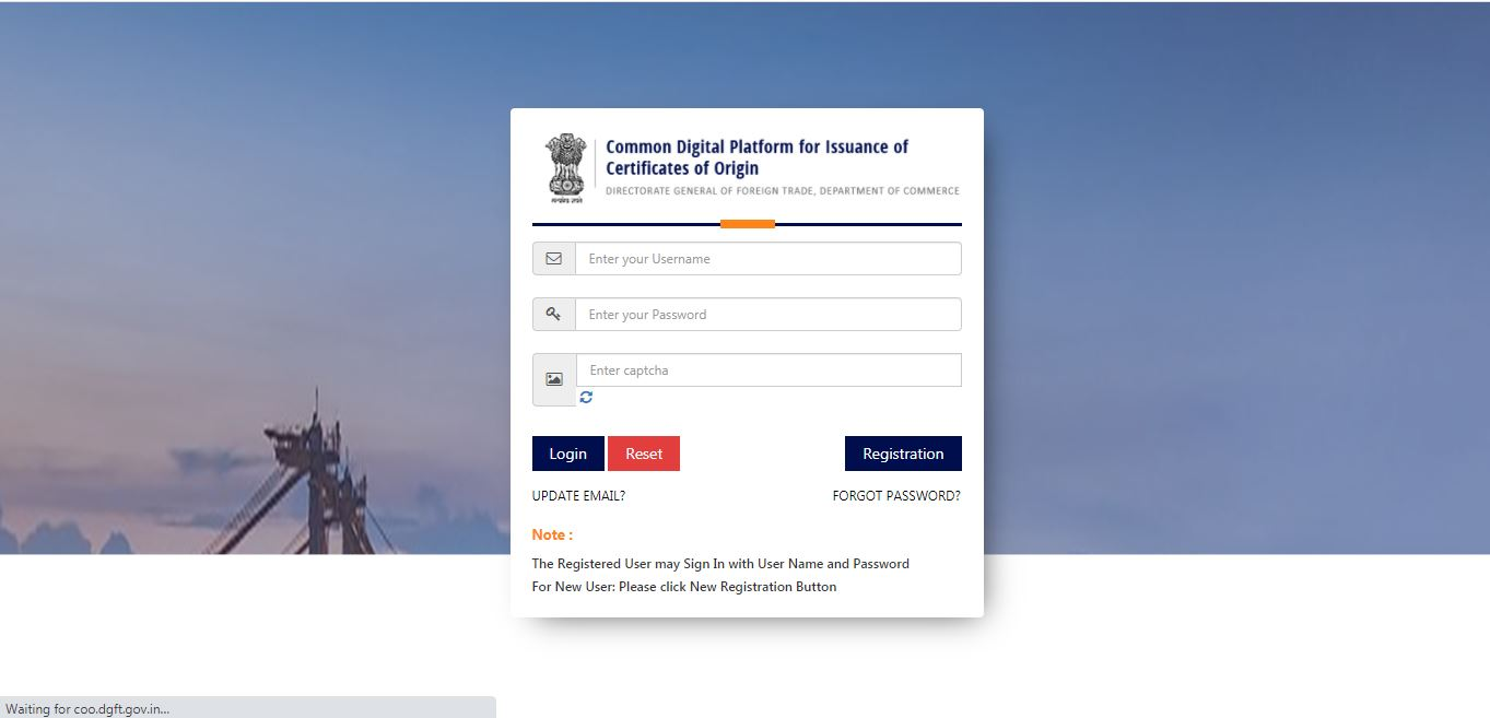 Electronic filing and Issuance of Preferential Certificate of Origin (CoO) - Login Page