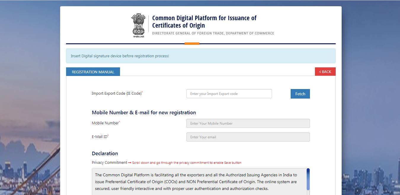 Electronic filing and Issuance of Preferential Certificate of Origin (CoO) - User Registration