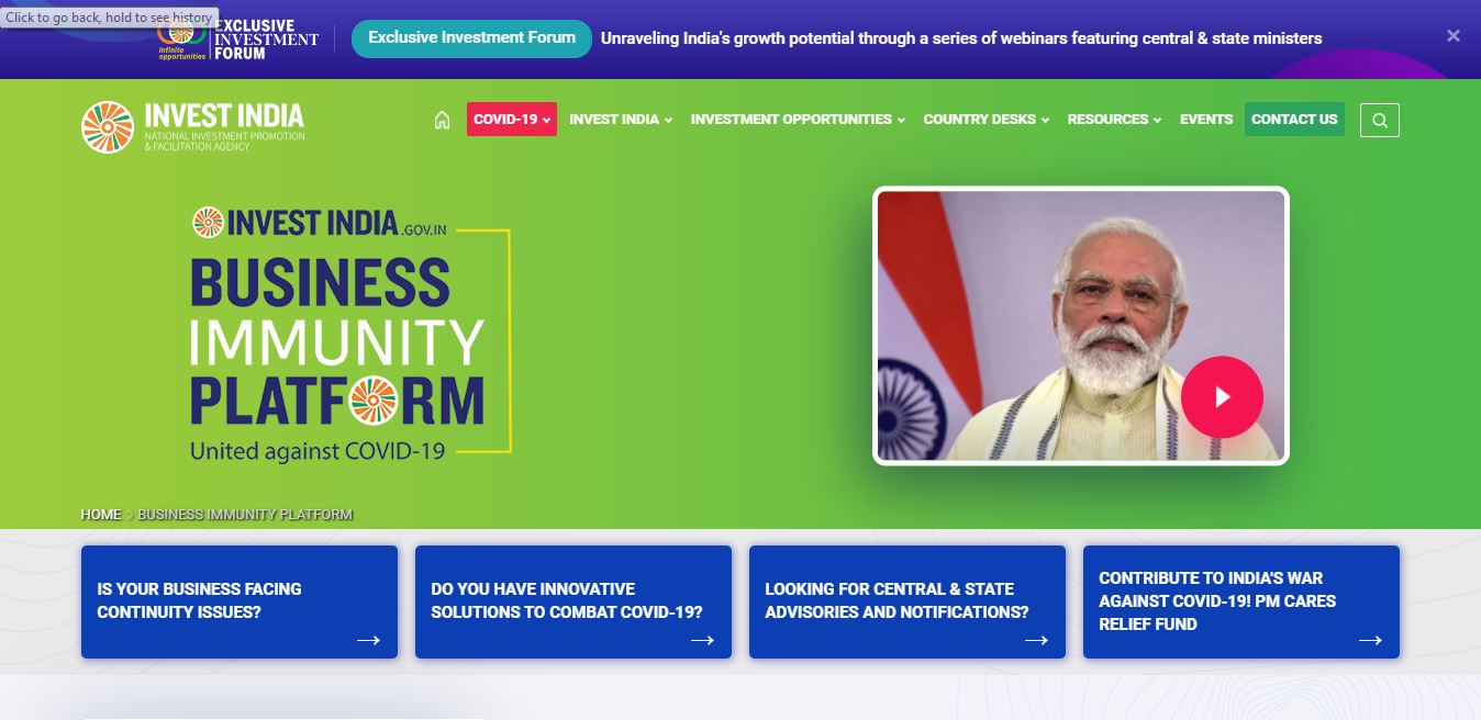 Invest India Business Immunity Platform - Home Page