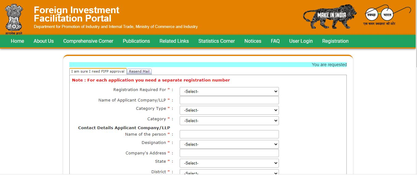 Consolidated FDI Policy - FIFP User REGISTRATION