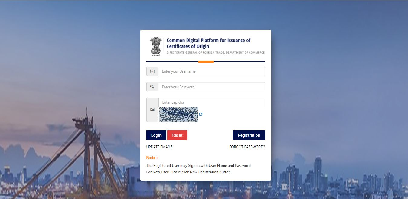 Electronic filing of Non - Preferential Certificate of Origin (CoO NP) - Login