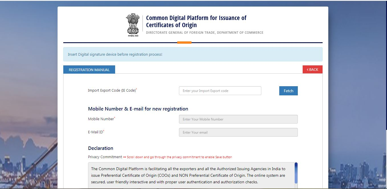 Electronic filing of Non - Preferential Certificate of Origin (CoO NP) - User Registration