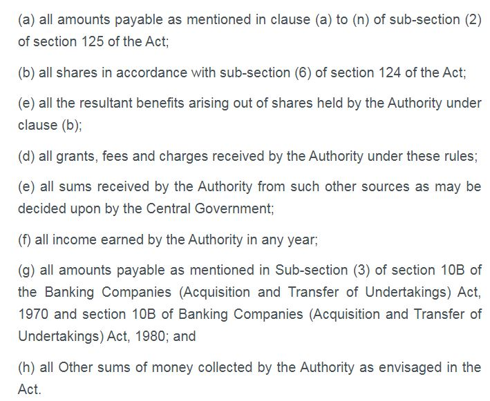 IEPF Amendment Rules, 2021 - Existing list of amounts which shall be credited