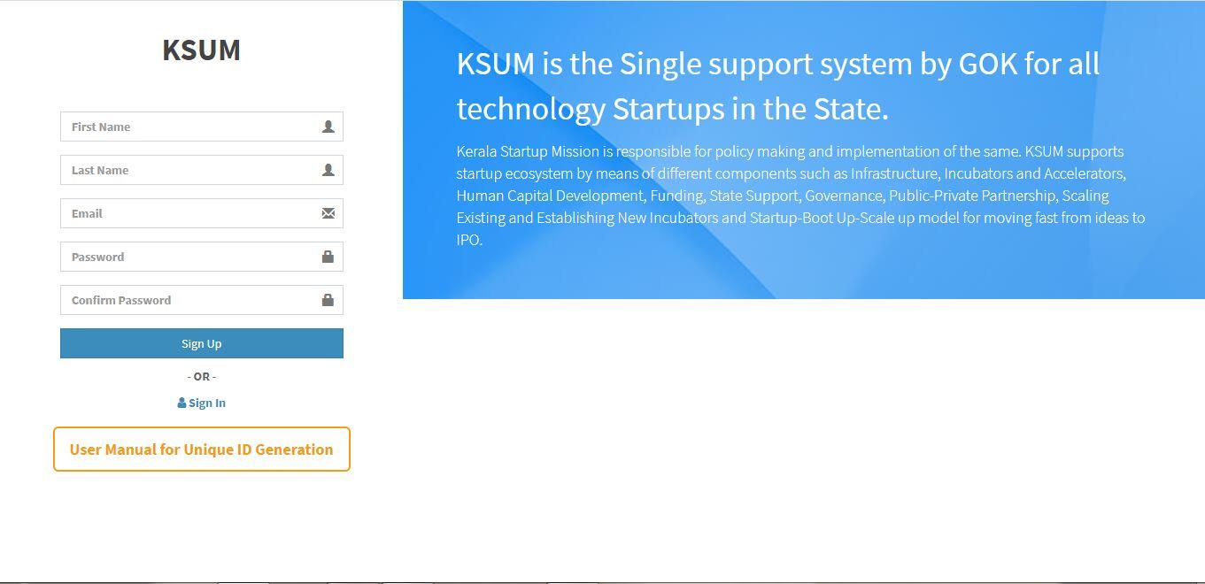 KSUM Unique ID for Startup - Signin