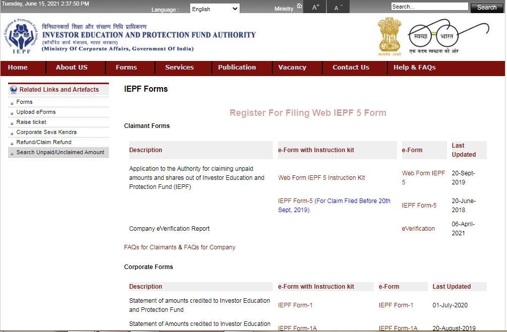 Procedure to Claim IEPF Refund - Download Form