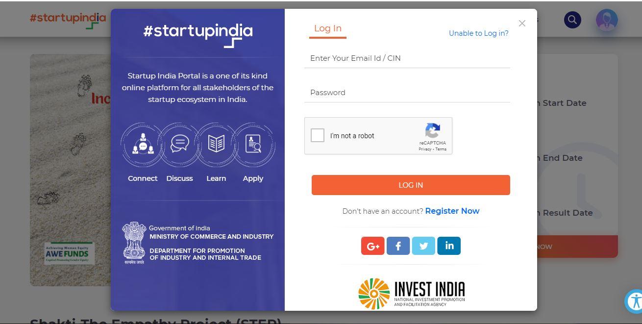 StartupXY Incubation Program for Technology Startups- Login